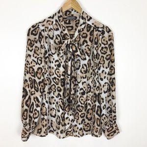 Vince Camuto Top Blouse Leopard Print Size S Bow